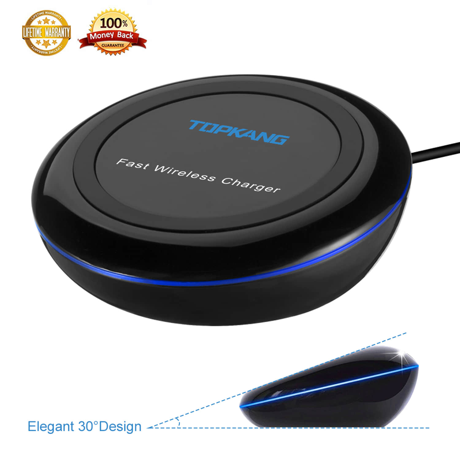 Wireless Charger for Samsung, Fast Wireless Charger,iPhone Wireless Charger,Wireless Charger for iPhone 8 plus,iPhone X,iPhone 8 and Samsung Galaxy S9,S8,S7,S5,S6
