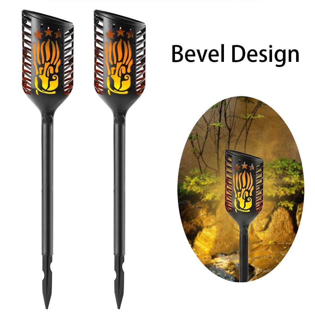 Solar Torch Lights, Anmaker Top Bevel Design Waterproof Flickering Dancing Flame Landscape Light for Patio, Deck, Yard Driveway, Road