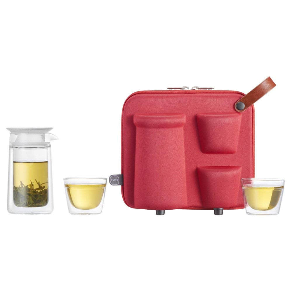 ZENS | Mobile Moon Portable Tea Set | Double Wall Glass Teapot with Built in Infuser | 2 Glass Tea Cups | Portable Design