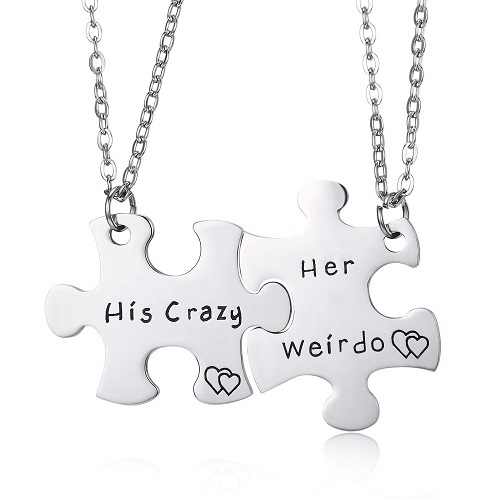 His Crazy Her Weirdo Matching Couples Keychains, Couples Necklaces
