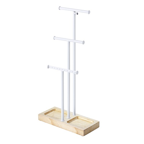 Love-KANKEI Jewelry Stand with Metal Holder & Wood Basic Jewery Storage for Necklaces Bracelets Earring