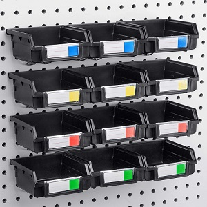 Conor Tool Pegboard Bins - 12 Pack Black - Hooks to Any Peg Board