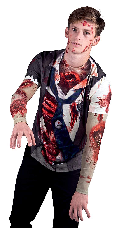 Men's Zombie Costume with Mesh Sleeve