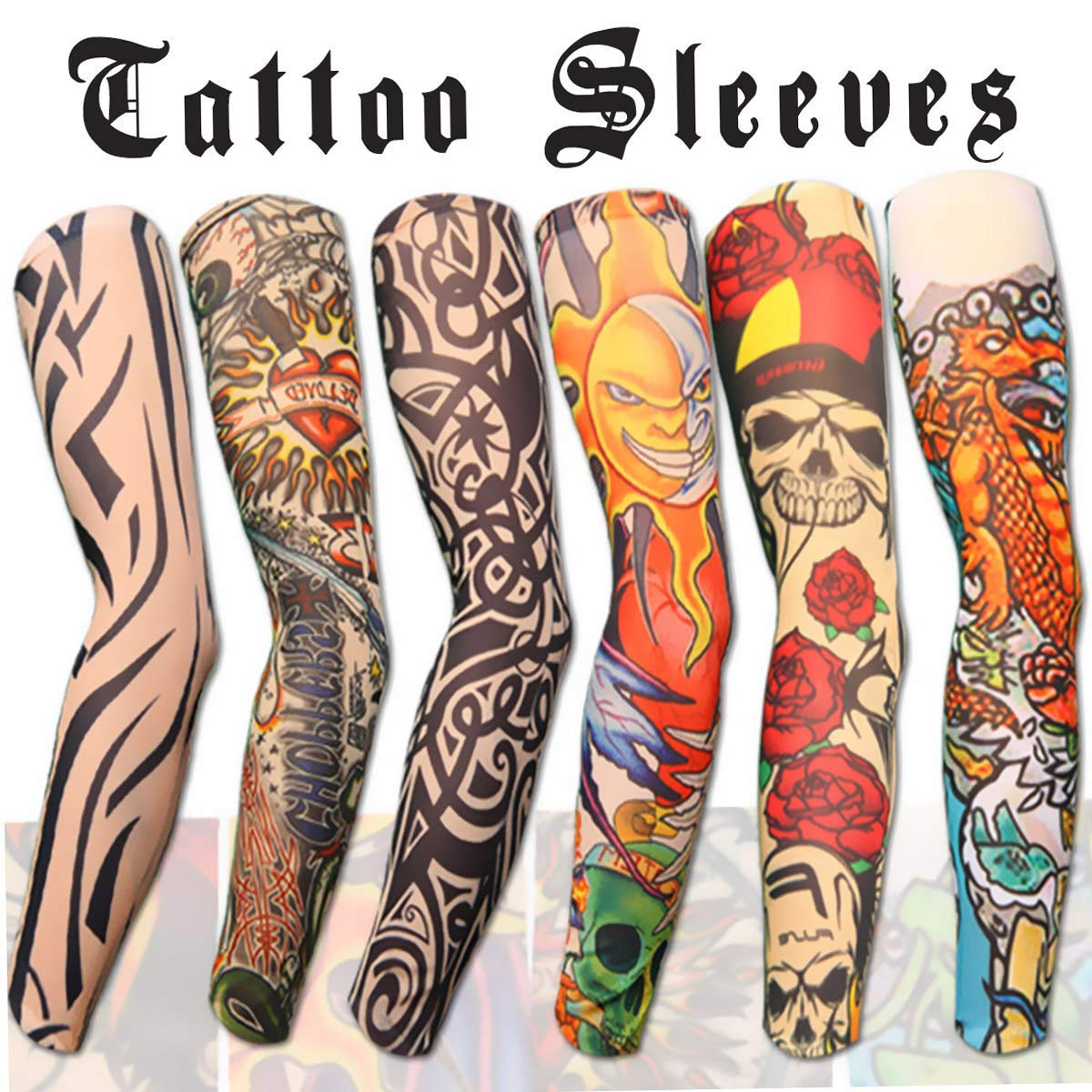 6pcs Arm Sunscreen Sleeves with Fake Tattoo
